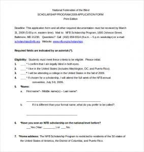 application for scholarship sample free sample scholarship application form free download
