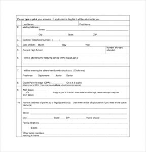 application for scholarship sample national scholarship application template pdf format