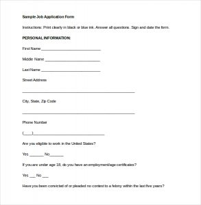 application form template job application form word document free download