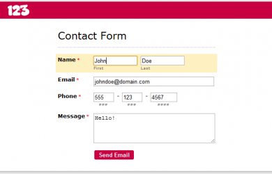 application forms template contact form