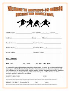application forms template rec basketball registration page