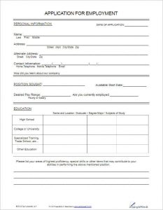 application forms templates free employee application template