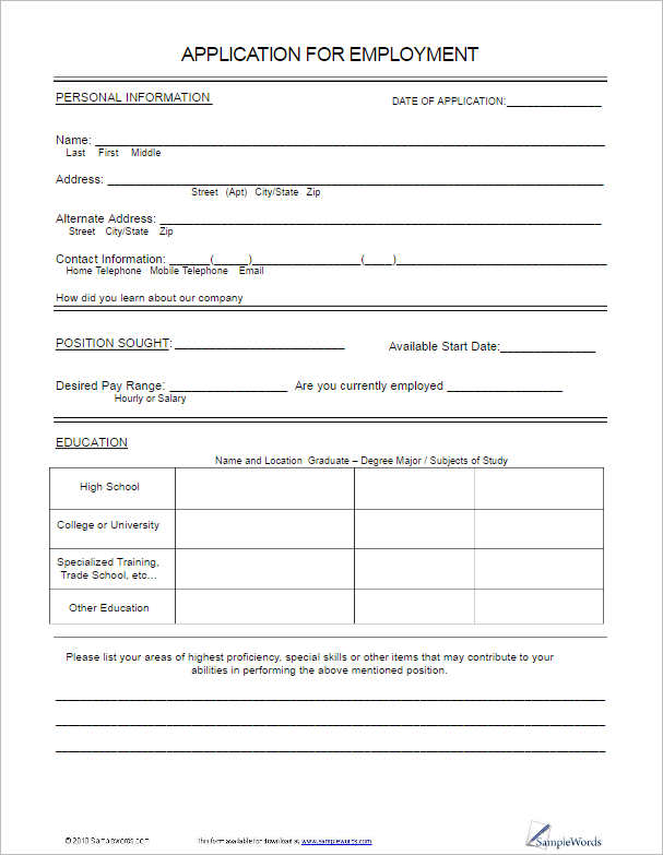 application forms templates