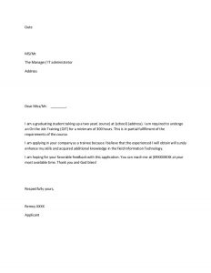 application letter template ojt application sample