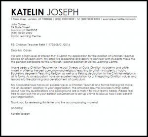 application letters example christian teacher