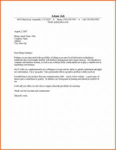application letters example cover letter for college student student cover