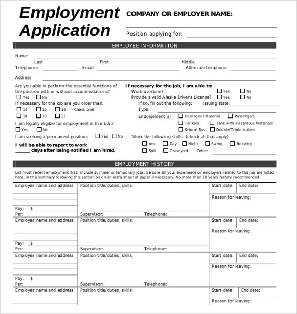 applications for employment templates