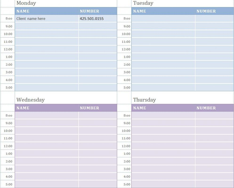 appointment calendar templates