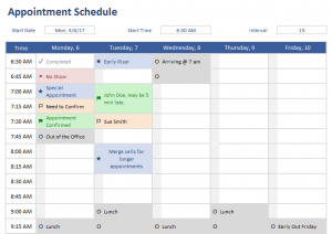 appointment schedules templates appointment schedule template