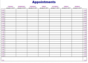appointment schedules templates appointments schedule template