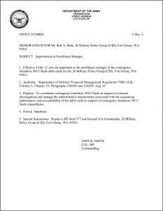 Army Memorandum For Record Best Images Of Formal Example Sample In