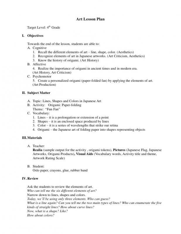 Art Lesson Plans  Template Business