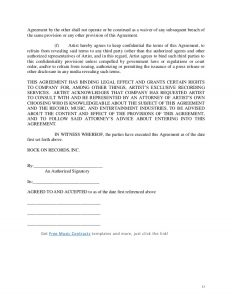 artist contract template artist owned record company letter of intent contract