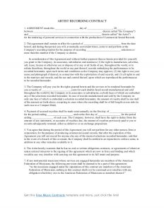 artist contract template artist recording contract