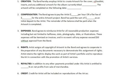 artist contract template cd artwork
