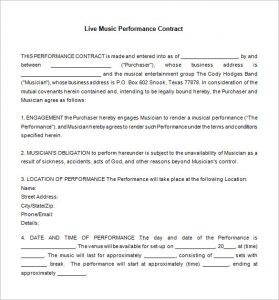 artist management contract free download live music contract template