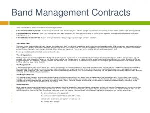 artist management contract music business artist management contracts