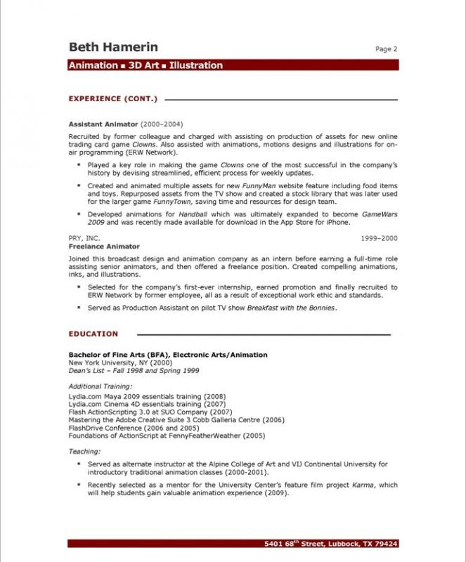 Artist Resume Template  Template Business