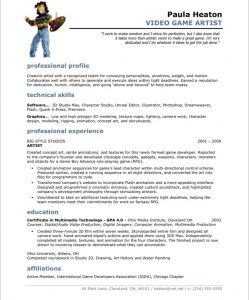 artist resume template after