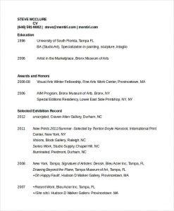 artist resume template artist cv template