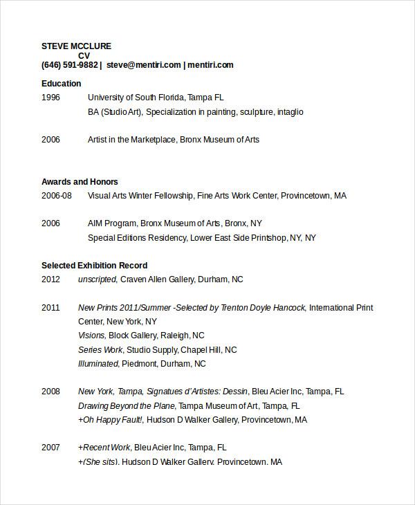 artist resume template