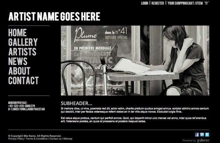 artist website templates