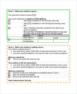 asthma action plan form sample asthma action plan