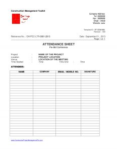 attendance sheet excel days bid procedure for construction project