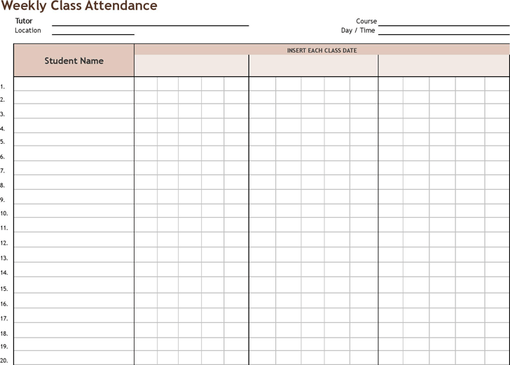 attendance tracking templates