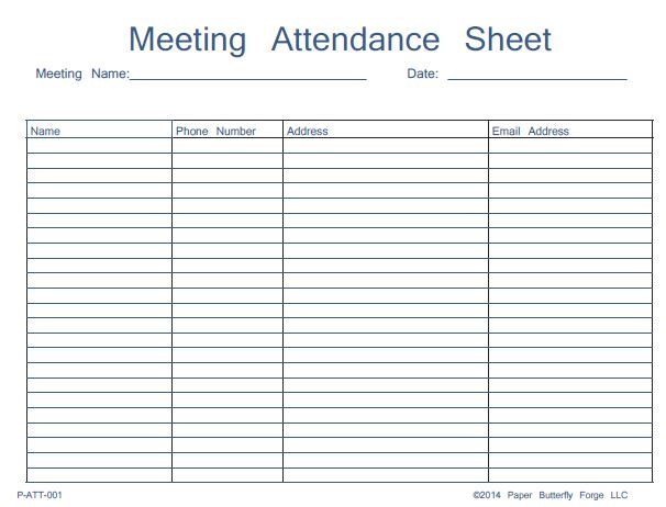 attendance sign in sheet