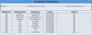 attendance tracker excel employees data base