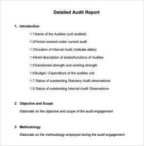 audit report example example internal audit report template download