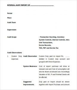 audit report example freee download internal audit report format editable