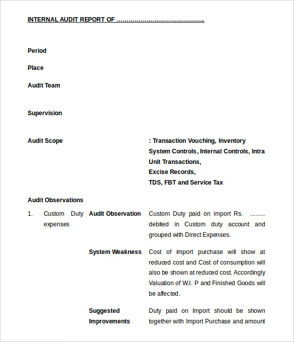 audit report example