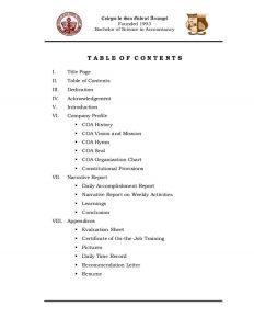 audit report sample narrative report in ojt