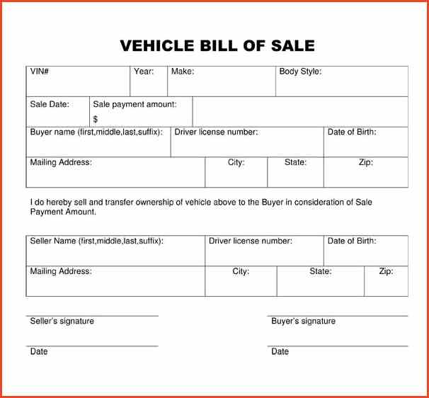 auto bill of sale pdf