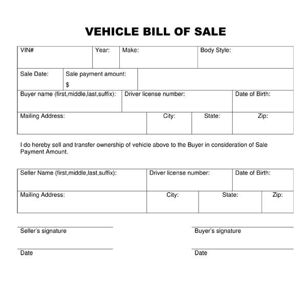 examples of a bill of sale for a car