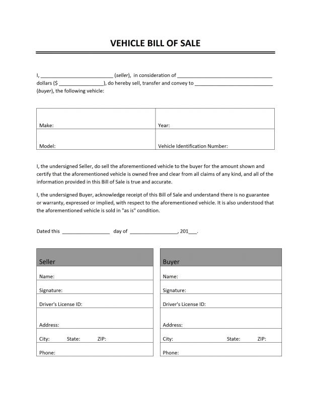 Auto Bill Of Sale Template  Template Business