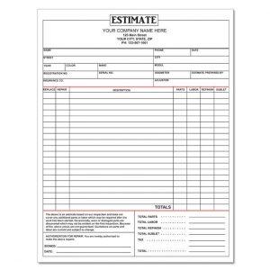 auto repair estimate template dnp