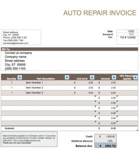 auto repair invoice auto repair invoice template