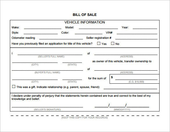 automobile bill of sale pdf