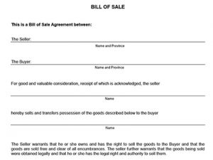 automobile bill of sale template bill