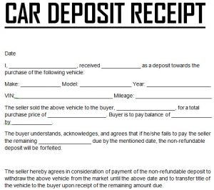 automotive bill of sale template car down payment deposit receipt