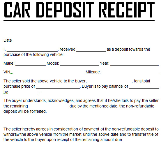 Automotive bill of sale template template business for Car deposit contract template