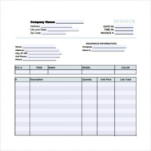 automotive repair invoices auto body repair invoice