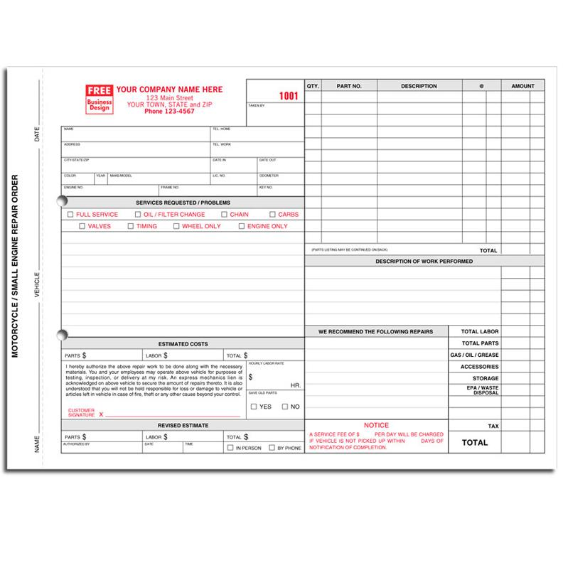 automotive repair invoices