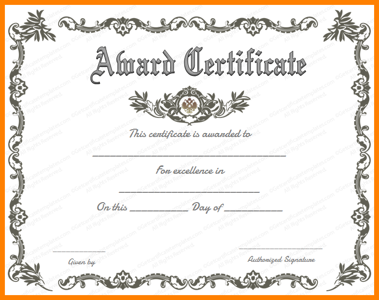 High Quality Award Certificate Template Free Regarding Free Award Certificate Templates