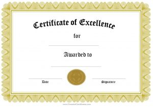 award certificate template free award of excellence