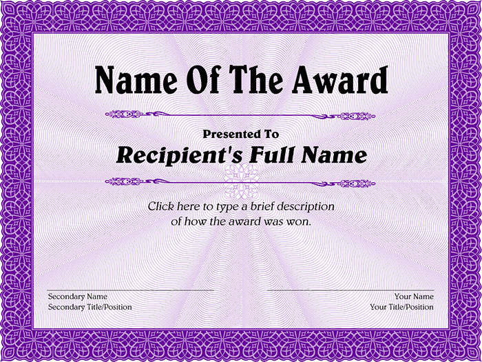 Award Certificate Template Free  Template Business