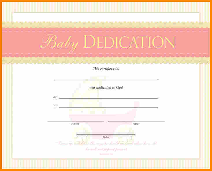 Baby Dedication Certificate  Template Business